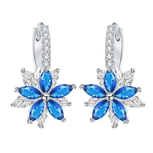 liusdh Damen Ohrringe Reizende romantische Blumen-Stein-Form-einfache kubische kupferne Ohrringe für Frauen Für Frauen, Modeschmuck, Geschenke für Frauen(Blue,Einheitsgröße) -