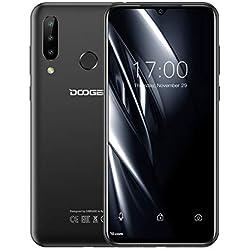 DOOGEE N20 Télephone Portable Débloqué, Écran 6,3 Pouces FHD+, Octa-Core 4Go+ 64Go, 16MP + 8MP + 8MP + 16MP, Batterie 4350mAh, Charge Rapide 10W, Android 9.0, Smartphone Pas Cher 4G Dual SIM- Noir