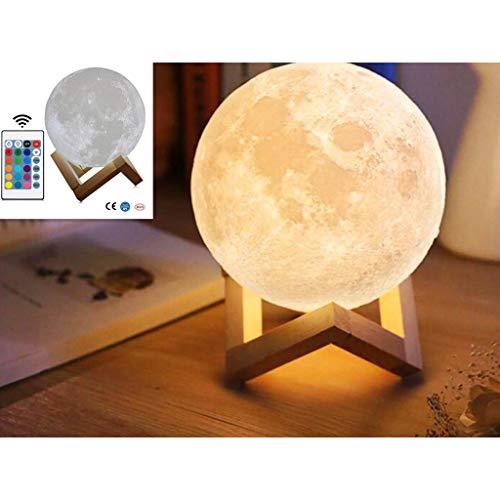 """ARTIFUN Mond Lampe Moon Lamp,16 Farben 15 cm / 5,9\""""3D Gedruckt Mond Dekorative Licht, Fernbedienung Einstellbare Helligkeit Nachtlicht RGB Tisch Nachttischlampe mit Holzhalterung"""