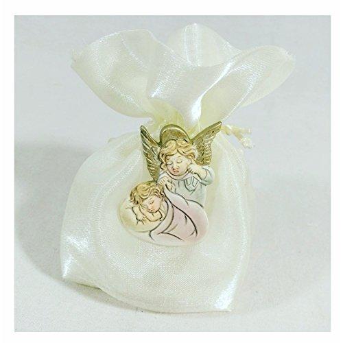Sindy bomboniere comunione sacchetti porta confetti battesimo per femmina o maschio con angelo gabriele, tessuto, argento, 10 x 2 x 12 cm, 24 unità