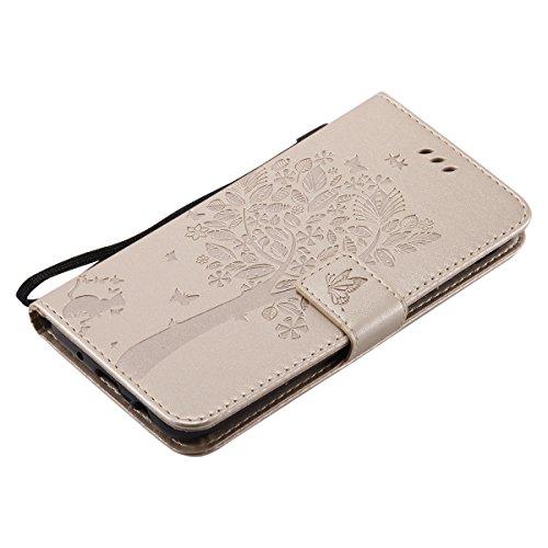 Custodia Galaxy J7 2017, ISAKEN Cover Per Samsung Galaxy J7 2017 Custodia [PU Leather] [Shock-Absorption] Anti Slip Portafoglio Flip Case Copertura Protezione Antiurto Cover Elegante Rose Pattern Desi Albero: gold