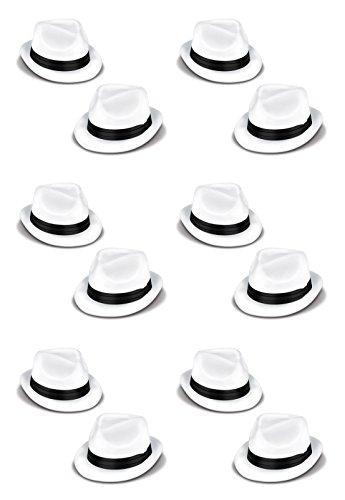 Beistle 60339–25Velours Havana Chairman Hüte, Einheitsgröße, weiß/schwarz, 12Stück -