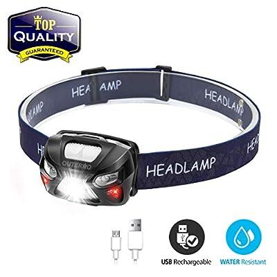 OUTERDO Stirnlampe LED, Mini Kopflampe USB Wiederaufladbar, Sensor Kopfleuchte Warnen- Rotlicht, Wasserdichte Stirnleuchte für Arbeiten Camping Laufen Wandern und Lesen von Nerudytop_DE - Outdoor Shop