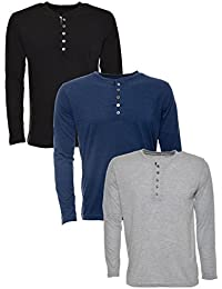 aarbee Men's Cotton full sleeve T-Shirt, Combo of 3(black,gray,denim)