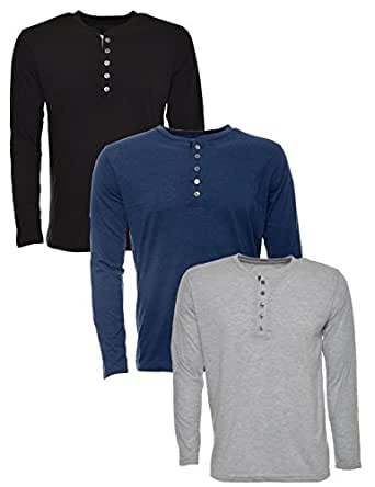 aarbee Men's Cotton Full Sleeve T-Shirt, Combo of 3(Black,Gray,Denim) (Small)