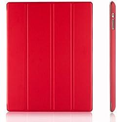 JETech Étui Compatible avec Apple iPad 4, iPad 3 et iPad 2, Housse Coque avec Support Fonction et Veille/Réveil Automatique, Rouge