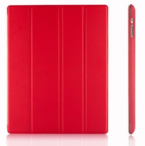 JETech Hülle für Apple iPad 4, iPad 3 und iPad 2, Schutzhülle mit Ständer Funktion und Auto Schlaf / Wachen, Rot