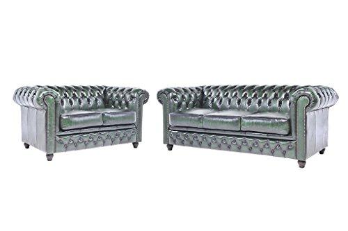 Original Chesterfield Sofas – 2 / 3 Sitzer – Vollständig Handgewaschenes Leder – Antik Grün