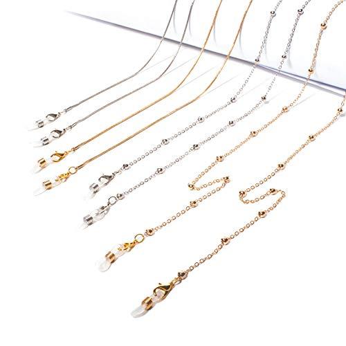 HauSun Brillenketten 4 Stück Perlen Cord Brillenband Silber & Gold mit 6 Gurthalter Lesebrillen Kord Damen Hals Cords Brillenkette Gläser Sonnenbrille Lanyard Halter Gurt Silikon Antirutsch Ringe