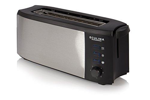 Eculina Langschlitz-Toster in Edelstahloptik (1000 W) inkl. Krümelschublade, automatischem Auswurf, Auftau Funktion und Brötchenaufsatz