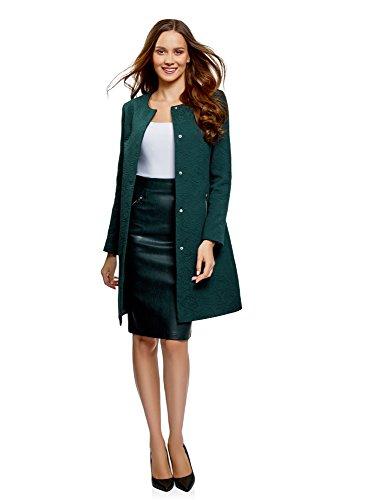 Oodji ultra donna cappotto dritto in jacquard, verde, it 44 / eu 40 / m