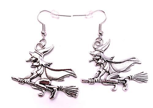 H-Customs Böse Hexe auf Besen Ohrringe Ohrschmuck Anhänger Silber Metall