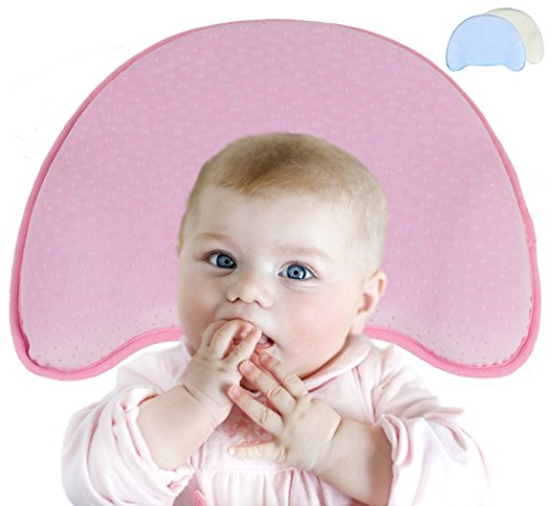 Orthopädisches Babykissen gegen Plattkopf (Kopfverformung) für eine natürliche Kopfform, 3-Stufen-System aus gelöcherten Memory-Schaum + extra Bezug