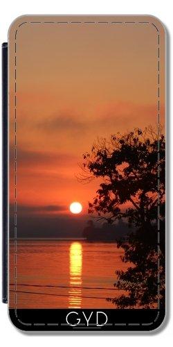 Leder Flip Case Tasche Hülle für Apple iPhone 6/6S - Schöne Orange Sonnenaufgang by loki1982 Lederoptik