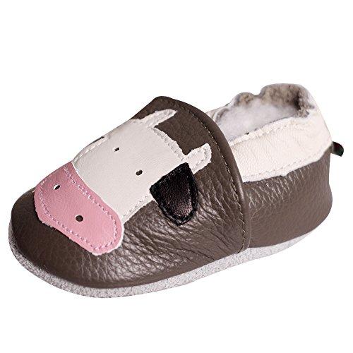 Baby-kalb Schuhe (LSHEL Premium Weich Leder Babyschuhe Jungen und Mädchen Krabbelschuhe Neugeborene 0-24 Monate Erste Lauflernschuhe, Kalb, 18-24 Monate)