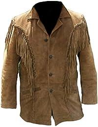 Classyak, veste pour homme de style western à frange en daim de qualité  supérieure 65d910ddf07d