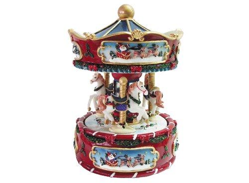 Carillon musicale giostra girevole cavalli natalizia carica manuale h 161 mm c- ideale come bomboniera, idea regalo