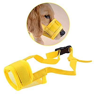 Zubita Dog Muzzle, Adjustable Breathable Dog Muzzle Anti-biting Anti-barking Anti-chewing Safety Protection for Small Medium Large Extra Dog S M L XL XXL (Yellow) by Zubita