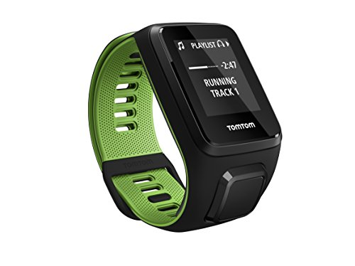 Tom Tom Runner 3 GPS Running Watch with Music and Bluetooth Headphones – Large Strap, Black/Green