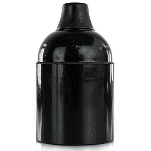 Original Bakelit | Retro Lampenfassung aus Bakelit | Bakelit-Fassung E27 Glattmantel schwarz mit Klemmnippel