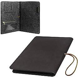 PATOMOS Cuadernos en Cuero A5 de Piel, Funda para Cuaderno, Cubre Libros con Libreta A5
