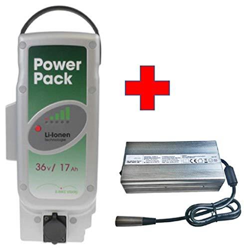 Akkuman.de Set E-Bike Vision Power Pack Ersatzakku für Panasonic Antriebsystem 36V 17Ah 612 Wh + 7A Ladegerät Panasonic Power Pack