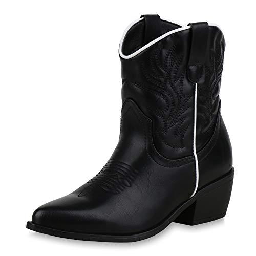 SCARPE VITA Damen Stiefeletten Cowboy Boots Western Schuhe Stickereien Stiefel 173336 Weiss Schwarz 40 - Cowboy Western Stiefel