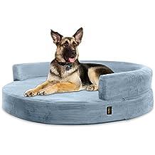 KOPEKS Sofa Redondo Cama Gris para Perro Perros Mascotas Extra Grande XL con Memoria Viscoelástica Colchón