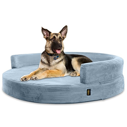 KOPEKS Sofa Redondo Cama Gris para Perro Perros Mascotas Extra Grande XL...