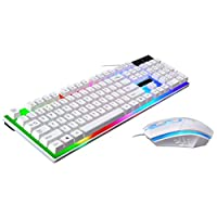 Samlike G21 LED Rainbow Color Backlit Gaming USB Wired Keyboard Mouse Set white White