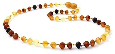 Collier D'Ambre Baltique - Longeur 36 cm - Couleur Arc En Ciel - Perles D'ambre Non Poli - AmberStones (36 cm)