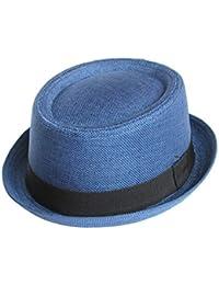 1e1f83dac0a1ec Seemeinthat Unisex Men Women Blue Fabric Pork Pie Hat Trilby Fashion  Festival Beach Scooter