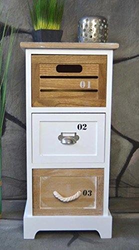 Livitat® Kommode Landhaus mit Schubladen Regal Badregal Badschrank Schrank Maritim 64 cm