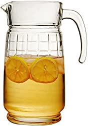 Circleware Windowpane Glass Beverage Drink Pitcher, 64 Ounce, Limited Edition Glassware Drinkware Water Dispenser