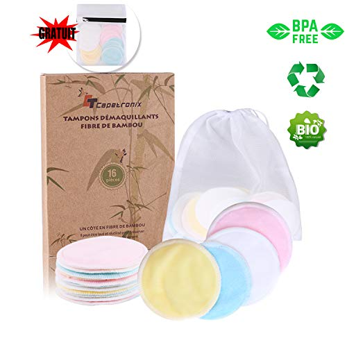 Tampons Démaquillants fibre de bambou丨disques coton...