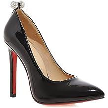 Schwarze aus Leder mit roter Sohle Plateauabsatz Damen Pumps