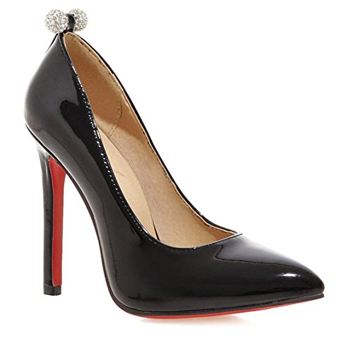 YE Damen Spitze Lack High Heels Stiletto Pumps mit Strass Kleid ()