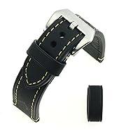 In pelle nera Crazy Horse ruvida ispessito da polso cinturino di ricambio Cinturino 24MM