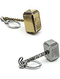 Three Shades Thor Hammer Marvel Avengers Superhero Gold & Silver Designer Key Chain (Bike & Car)