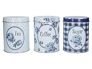 Katie Alice C000103 Lot de 3 grandes boîtes de conservation pour café, sucre et thé Indigo vintage