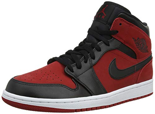 big sale a3798 195a9 Nike Men s Air Jordan 1 Mid Basketball Shoes, (Gym Red Black White
