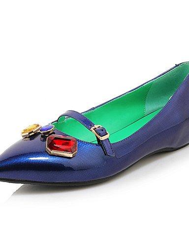 WSS 2016 Chaussures Femme-Bureau & Travail / Décontracté-Noir / Bleu / Rouge / Blanc-Talon Bas-Talons / Bout Pointu-Chaussures à Talons-Cuir black-us7.5 / eu38 / uk5.5 / cn38