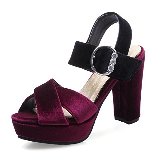 COOLCEPT Damen Mode Knochelriemchen Sandalen Peep Toe Blockabsatz Plateau Schuhe Rotwein