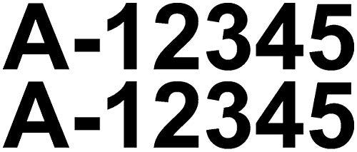 Samunshi® Bootskennzeichen Aufkleber Bootsnummer 2x10cmhoch schwarz
