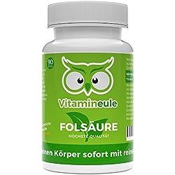 Folsäure-Kapseln - ohne künstliche Zusatzstoffe - 800µg Folsäure (Vitamin B9) - 100% Zufriedenheitsgarantie - vegane, kleine Kapseln - Qualität aus Deutschland - Vitamineule®