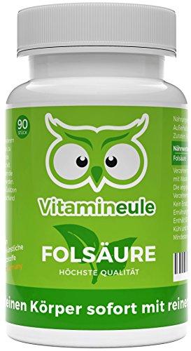 Folsäure-Kapseln - ohne künstliche Zusatzstoffe - 800µg Folsäure (Vitamin B9) - 100% Zufriedenheitsgarantie - vegane, kleine Kapseln - Qualität aus Deutschland - Vitamineule
