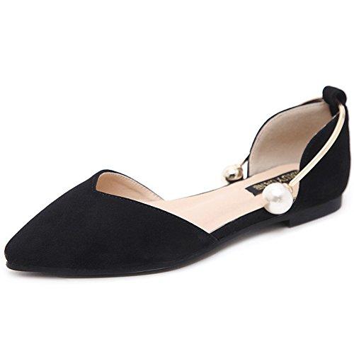 LJO Femmes Sandales Talon Plat Été Pointu Chaussures De Mode Shallow Bouche Chaussures
