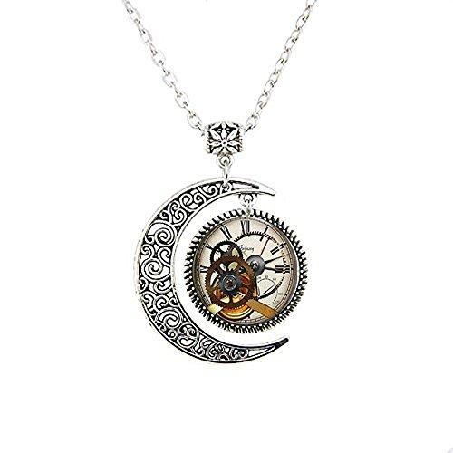 Steampunk Uhr Halskette Mond Steampunk Uhr und Stoppuhr Geschenke für ihn Steampunk Schmuck Halskette Mond Kunst Geschenke für ihre