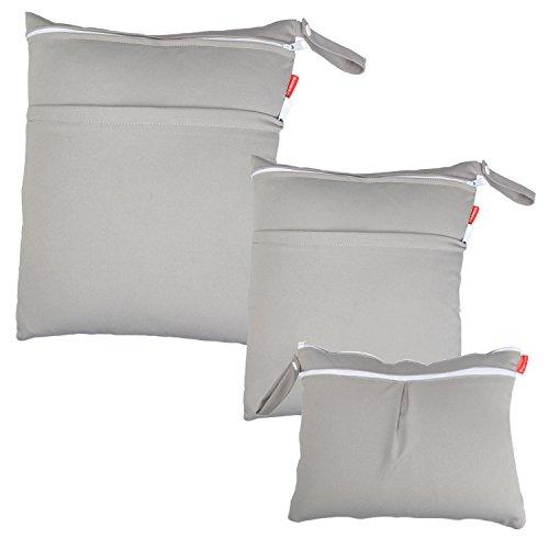 Damero 3 Stück/Set Windeltasche mit wiederverwendbarem Stoff Wetbag Feuchttücher Organiser Beutel (Grau)