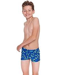 Zoggs Boy's Grid Work Hip Racer Swim Suit